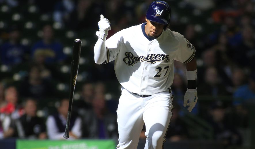 Milwaukee Brewers center fielder Carlos Gomez pops out to the Colorado Rockies during the eigth inning of an baseball game Monday, April 6, 2015 in Milwaukee. (AP Photo/Darren Hauck)