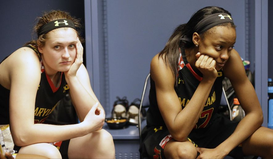 Maryland's Tierney Pfirman, left, and Shatori Walker-Kimbrough sit in the locker room after the second half of the NCAA Women's Final Four tournament college basketball semifinal game against Connecticut, Sunday, April 5, 2015, in Tampa, Fla. Connecticut won 81-58. (AP Photo/Brynn Anderson)