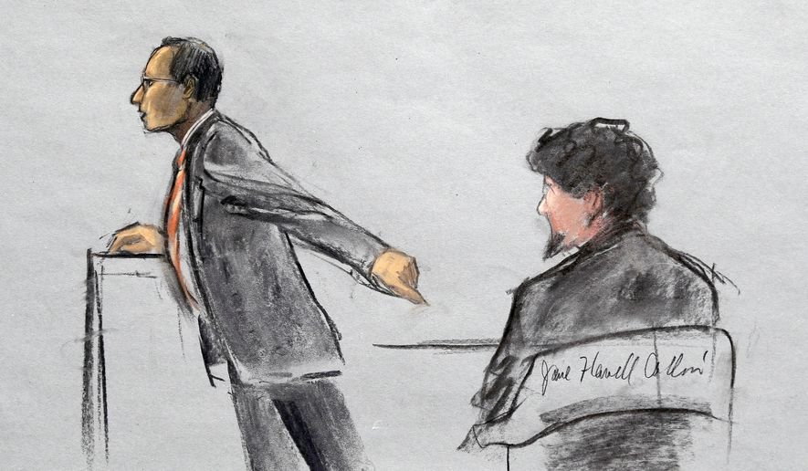 In this courtroom sketch, Assistant U.S. Attorney Aloke Chakravarty is depicted pointing to defendant Dzhokhar Tsarnaev, right, during closing arguments in Tsarnaev's federal death penalty trial Monday, April 6, 2015, in Boston. Tsarnaev is charged with conspiring with his brother to place two bombs near the Boston Marathon finish line in April 2013, killing three and injuring 260 people. (AP Photo/Jane Flavell Collins) ** FILE **