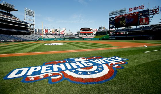 An opening day logo adorns the field at Nationals Park before a baseball game between the Washington Nationals and the New York Mets on Monday, April 6, 2015, in Washington. (AP Photo/Andrew Harnik)