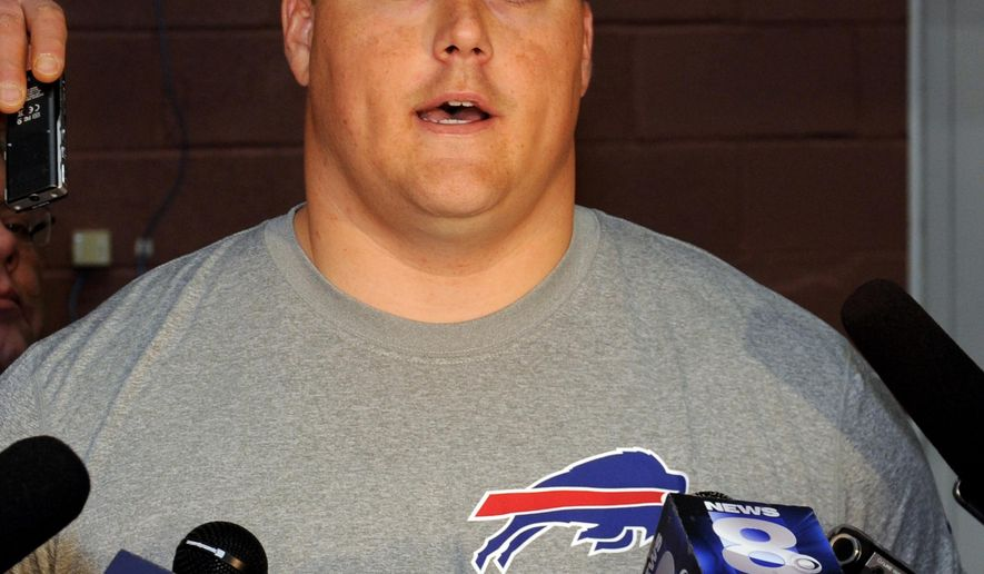 NFL football guard Richie Incognito, of the  Buffalo Bills, answers a question after participating in a voluntary offseason conditioning session Monday, April 6, 2015, in Orchard Park, N.Y. (AP Photo/Gary Wiepert)