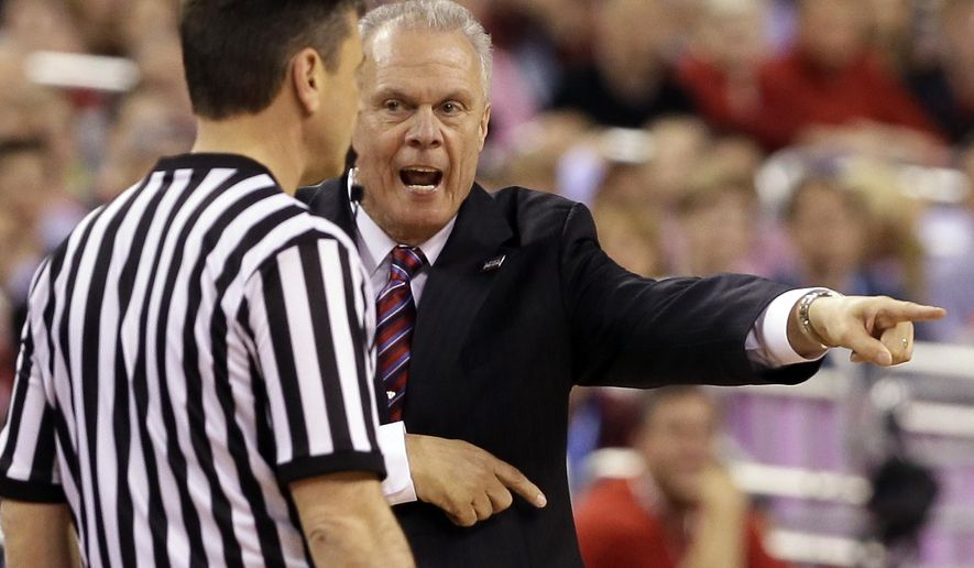 Wisconsin head coach Bo Ryan argues a call with a referee during the first half of the NCAA Final Four college basketball tournament championship game against Duke Monday, April 6, 2015, in Indianapolis. (AP Photo/Charlie Neibergall)