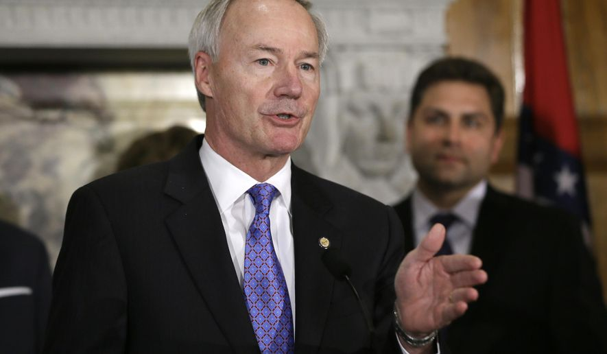 Arkansas Gov. Asa Hutchinson speaks during a news conference at the Arkansas state Capitol in Little Rock, Ark., Monday, April 6, 2015. Hutchinson signed into law three bills Monday aimed at overhauling the state's workforce education programs. (AP Photo/Danny Johnston)
