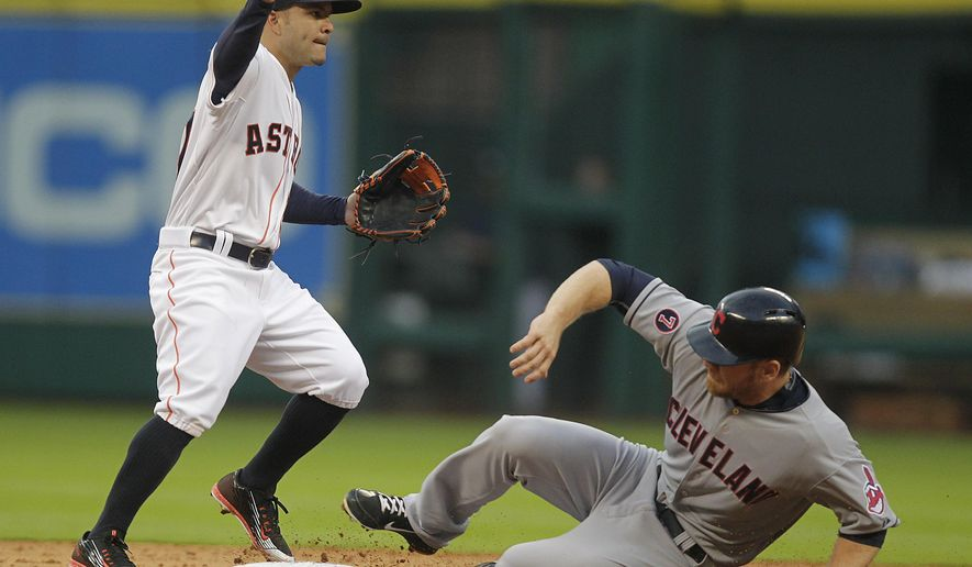 Houston Astros' second baseman Jose Altuve turns a double play on Cleveland Indians' Brandon Moss during the fifth inning on an opening day baseball game, Monday, April 6, 2015, in Houston. (AP Photo/Patric Schneider)