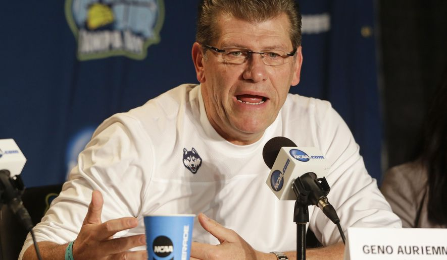 Connecticut head coach Geno Auriemma makes commments during a news conference at the NCAA Women's Final Four college basketball tournament, Monday, April 6, 2015, in Tampa, Fla.  Connecticut will play Notre Dame in the championship game on Tuesday. (AP Photo/John Raoux)