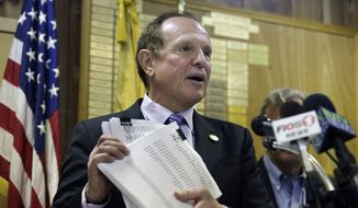 New Jersey Sen. Raymond J. Lesniak, D- Elizabeth, N.J., holds up petitions with over 15,000 signatures against New Jersey Gov. Chris Christie's announced settlement with Exxon Mobil Corp., Tuesday, April 7, 2015, in Linden, N.J. (AP Photo/Mel Evans) ** FILE **