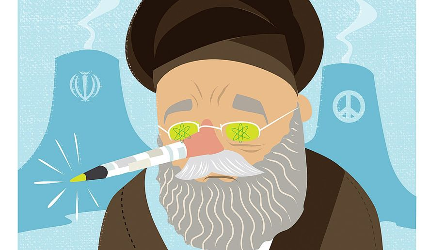 Illustration on the untrustworthy Iranian leadership by Linas Garsys/The Washington Times