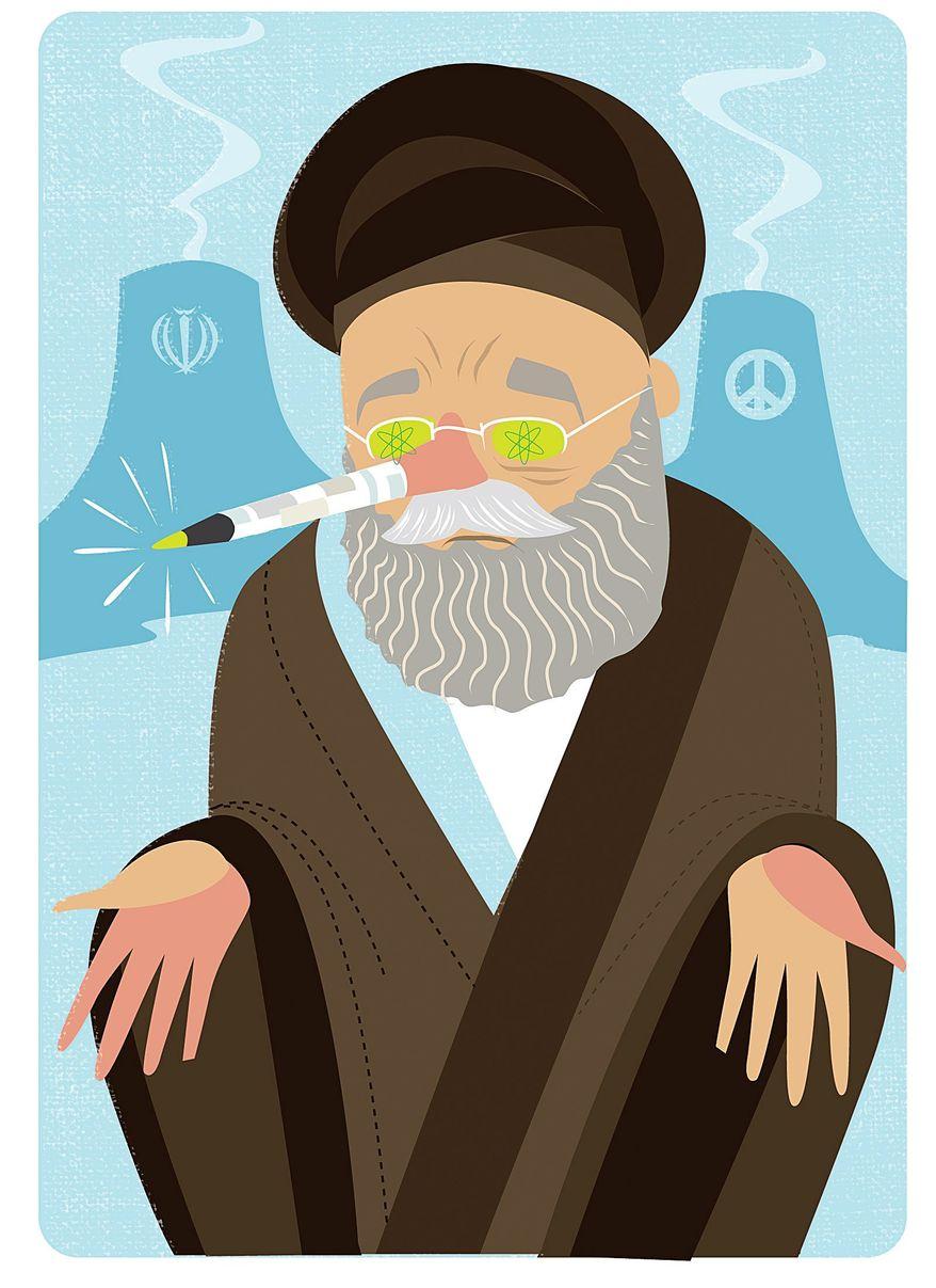 Illustration on the untrustworthy Iranian leadership by Linas Garsys/The Washington Times