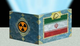 Illustration on U.S. enabling of Iran's nuclear capability by Alexander Hunter/The Washington Times