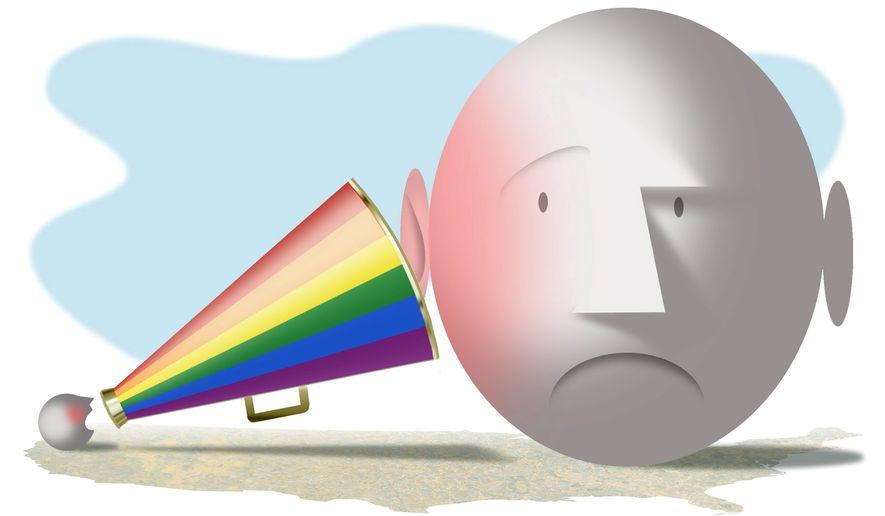 Illustration on gay activist agitation by Alexander Hunter/The Washington Times