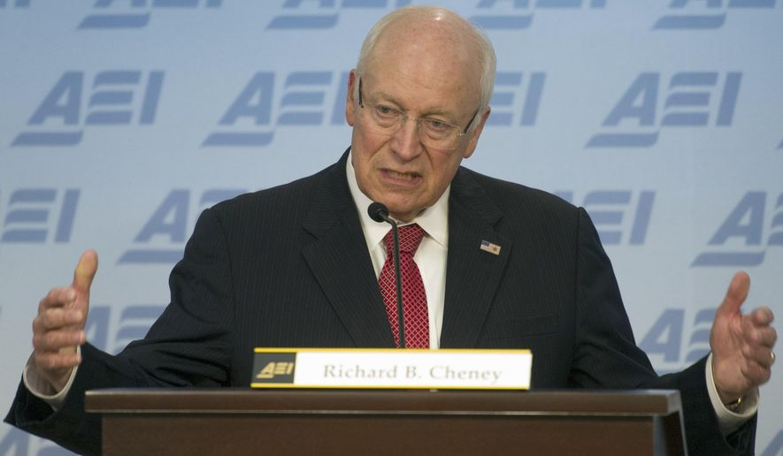 """FILE - In this Wednesday, Sept. 10, 2014, file photo, former U.S. Vice President Dick Cheney speaks at the American Enterprise Institute (AEI)  in Washington, about the current state and future of American foreign policy.  Cheney's next book, """"Exceptional: Why the World Needs a Powerful America"""" will be published Sept. 1, 2015, by Threshold Editions, the publisher announced Tuesday, April 7, 2015. The book, co-authored by Cheney's daughter Liz Cheney, contends that President Barack Obama has abandoned a decades-long tradition of American global leadership. (AP Photo/Cliff Owen, File)"""
