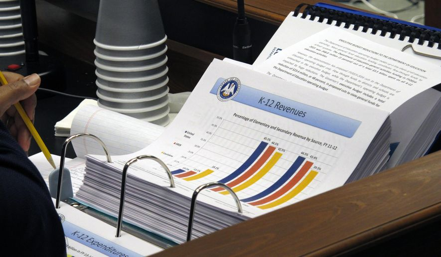 An analysis of the education budget proposal sits on a lawmaker's desk during a House Appropriations Committee hearing on Tuesday, April 7, 2015, in Baton Rouge, La. Superintendent of Education John White says the governor's budget proposal for next year would damage student testing. (AP Photo/Melinda Deslatte)