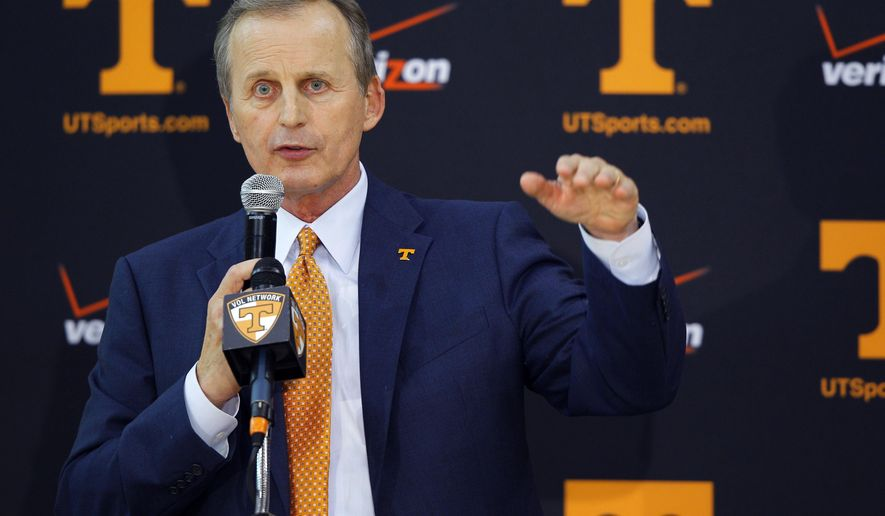 FILE - In this March 31, 2015 file photo, Tennessee head basketball coach Rick Barnes addresses reporters after hired in Knoxville, Tenn. One week into his new job, Barnes talks about the challenges of his new assignment and his plans for stabilizing a program that has undergone plenty of turnover in recent seasons, Tuesday, April 7, 2015. (AP Photo/Wade Payne, FIle)