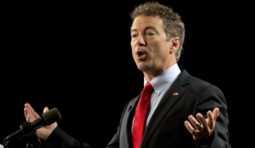 Sen. Rand Paul, R-Ky., announces the start of his presidential campaign, Tuesday, April 7, 2015, at the Galt House Hotel in Louisville, Ky. (AP Photo/Carolyn Kaster)