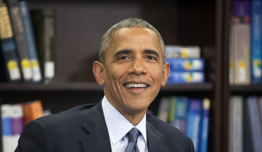 President Barack Obama smiles while speaking at Howard University in Washington, Tuesday, April 7, 2015. Obama visited the school to discuss the impact of climate change on public health and steps his administration is taking to reduce the health impacts of climate change on communities. (AP Photo/Pablo Martinez Monsivais)