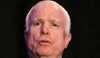 Sen. John McCain, R-Ariz. answers a question from the audience after formally announcing his candidacy for re-election in 2016 at an Arizona Chamber of Commerce luncheon Tuesday, April 7, 2015, in Phoenix. McCain announced Tuesday that he will run for re-election in 2016, making official a move that has been widely expected for the Republican as he looks to extend his nearly three-decade career in the Senate.  (AP Photo/Ross D. Franklin)