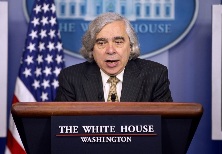 Energy Secretary Dr. Ernest Moniz speaks to the media during the daily briefing in the Brady Press Briefing Room of the White House in Washington, Monday, April 6, 2015. President Barack Obama is casting the Iran talks as part of a broader foreign policy doctrine that sees American power as a safeguard that gives him the ability to take calculated risks. (AP Photo/Pablo Martinez Monsivais)
