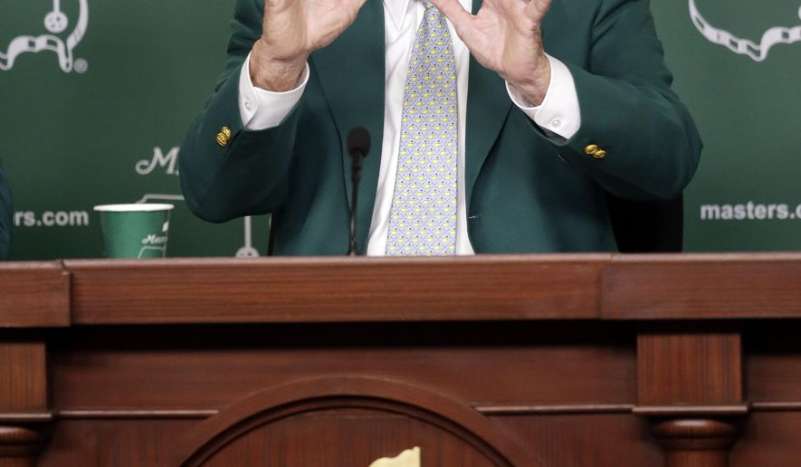 Billy Payne, Chairman of the Augusta National Golf Club speaks to reporters during a practice round for the Masters golf tournament Wednesday, April 8, 2015, in Augusta, Ga. (AP Photo/Chris Carlson)