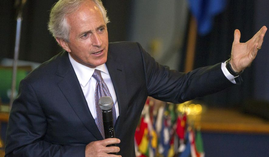 FILE - In this Nov. 6, 2014 file photo, Sen. Bob Corker, R-Tenn. speaks in Columbia, Tenn. Democratic senators are intent on changing a bill that would give Congress a say in an emerging nuclear deal with Iran, tweaks that could make it more palatable to President Barack Obama, who called Corker and Sen. Ben Cardin, D-Md., on April 8, to lobby against undermining diplomatic efforts to end a standoff with Tehran.(AP Photo/Erik Schelzig, File)