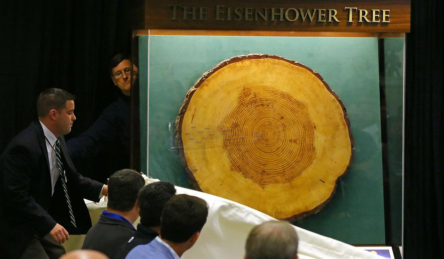 A section of The Eisenhower Tree, lost in a 2014 ice storm, is unveiled in a new display during the annual press conference of William Porter Payne, Chairman, Augusta National Golf Club and Masters Tournament, on Wednesday, April 8, 2015, in Augusta, Ga.  (AP Photo/Atlanta Journal-Constitution, Curtis Compton)  MARIETTA DAILY OUT; GWINNETT DAILY POST OUT; LOCAL TELEVISION OUT; WXIA-TV OUT; WGCL-TV OUT  MBI  (REV-SHARE) Curtis Compton / ccompton@ajc.com