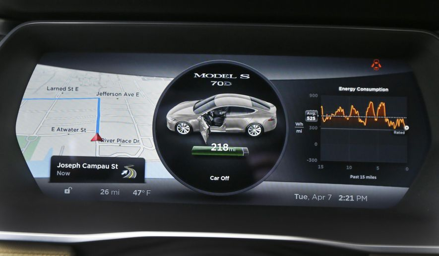 This Tuesday, April 7, 2015, photo shows the instrument panel of a Tesla Model S 70-D electric car during a test drive, in Detroit. Tesla is going after mainstream luxury car buyers by boosting the range, power and price of its low-end Model S. The $75,000 all-wheel-drive 70-D can go a government-certified 240 miles per charge, has 514 horsepower and can go from zero to 60 in 5.2 seconds. (AP Photo/Carlos Osorio)
