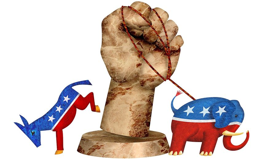 Republicans and Democrats join to fight public sector unions illustration by Greg Groesch/The Washington Times