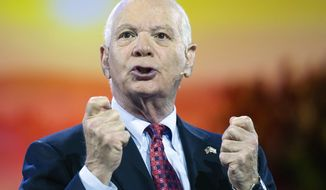 FILE - In this March 1, 2015, file photo, Sen. Ben Cardin, D-Md., speaks during at the American Israel Public Affairs Committee (AIPAC) Policy Conference in Washington. Democratic senators are intent on changing a bill that would give Congress a say in an emerging nuclear deal with Iran, tweaks that could make it more palatable to President Barack Obama, who called Sen. Bob Corker and Cardin, on April 8, to lobby against undermining diplomatic efforts to end a standoff with Tehran. (AP Photo/Cliff Owen)