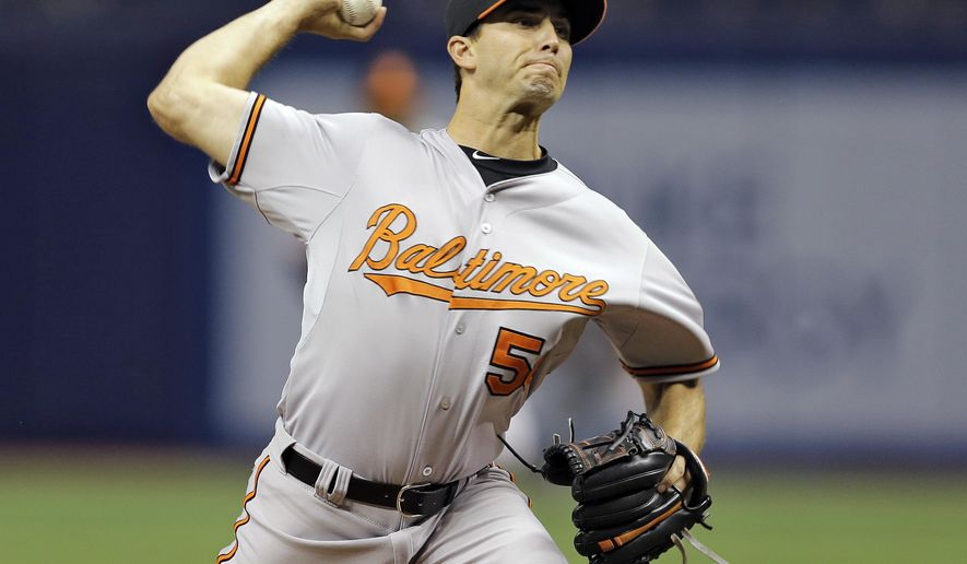 Baltimore Orioles starting pitcher Miguel Gonzalez (50) delivers to the Tampa Bay Rays during the first inning of a baseball game Wednesday, April 8, 2015, in St. Petersburg, Fla. (AP Photo/Chris O'Meara)