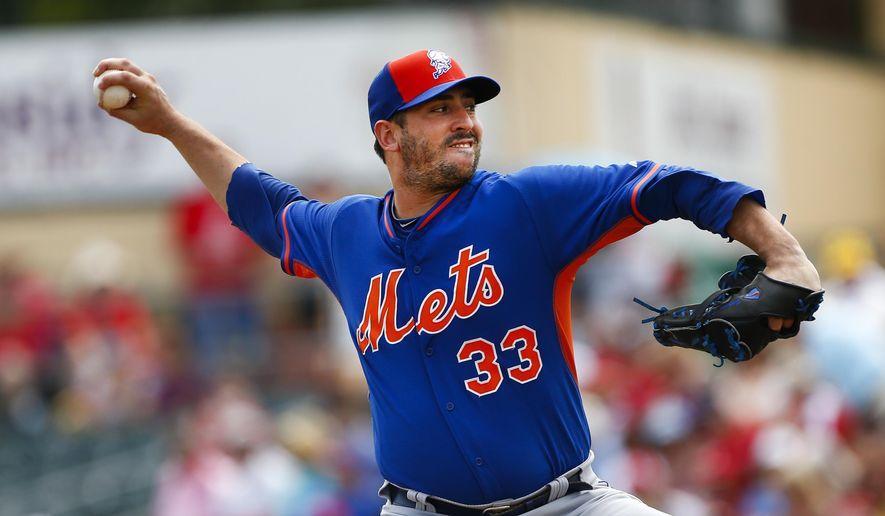 FILE - In this April 2, 2015, file photo, New York Mets starting pitcher Matt Harvey works in the first inning of an spring training baseball game against the St. Louis Cardinals in Jupiter, Fla. Harvey is scheduled to be back on a mound in the majors for the first time since Aug. 24, 2013--he had Tommy John Surgery two months after that outing--starting for the Mets against the Washington Nationals and their own electric pitcher who had reconstructive ligament surgery back in 2010, Stephen Strasburg. (AP Photo/John Bazemore, File)