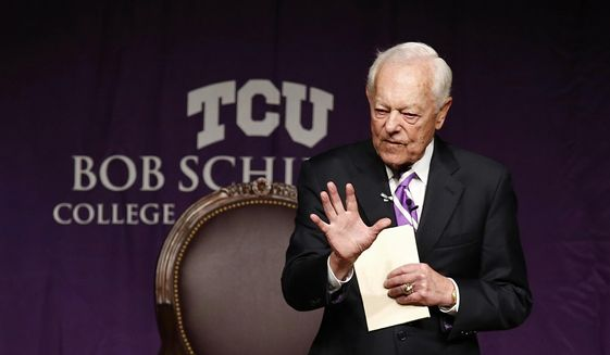 Bob Schieffer opens the Schieffer Symposium on the News at TCU on Wednesday, April 8, 2015, in Fort Worth, Texas. (AP Photo/The Fort Worth Star-Telegram, Ron T. Ennis) ** FILE **