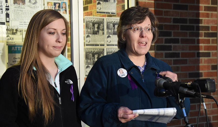 Chelsea Bruck family members sister Kassandra Rinne and her mother Leannda Bruck held a press conference Wednesday morning, April 8, 2015, discussing latest developments in the case of the missing Maybee woman, outside the Monroe Bank in Trust building in Newport, Mich. The Bruck family of Chelsea Bruck, a 22-year-old woman who disappeared from a Halloween party last year, is waiting for test results from police on clothing found at an abandoned industrial site in southeastern Michigan. (AP Photo/The Monroe Evening News, Tom Hawley)     (AP Photo/The Monroe News, Tom Hawley)