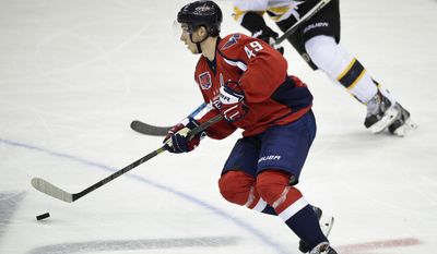 Washington Capitals right wing Stanislav Galiev, of Russia, skates with the puck against the Boston Bruins during the third period of an NHL hockey game, Wednesday, April 8, 2015, in Washington. Galiev made his NHL debut in the game. The Capitals won 3-0. (AP Photo/Nick Wass)