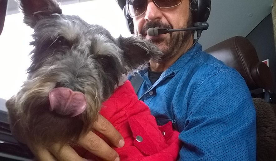 In this Dec. 5, 2014 photo provided courtesy of ShelterMe, pilot Jim Nista delivers Finn, a rescued dog, in Everett, Wash. In the last two years, Wings of Rescue have flown more than 15,000 dogs annually to new homes and have relocated more than 75,000 in seven years. (AP Photo/Jim Nista)
