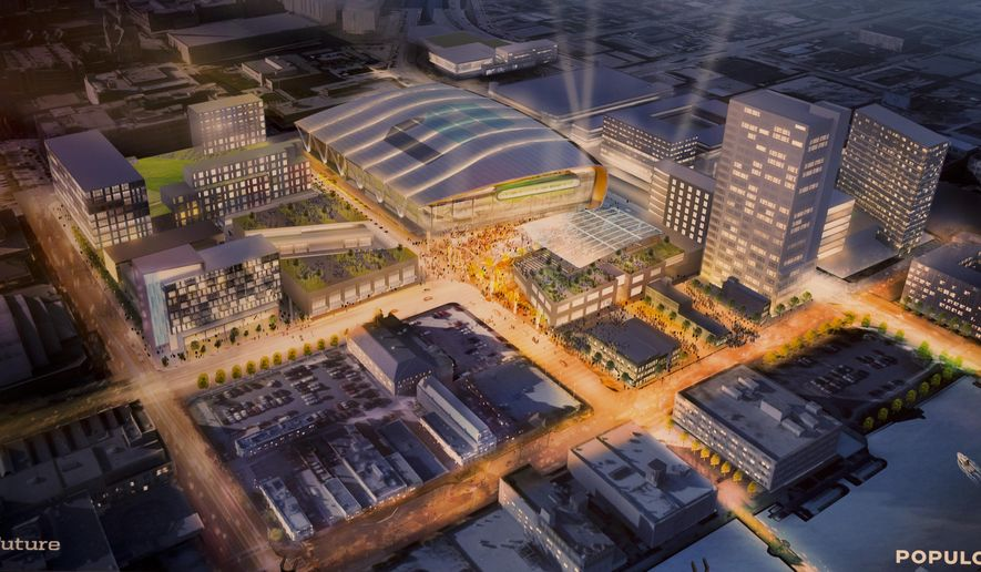 A rendering of a proposed new Milwaukee Bucks basketball arena is shown during a press conference Wednesday, April 7, 2015, in Milwaukee.  (AP Photo/Jeffrey Phelps)
