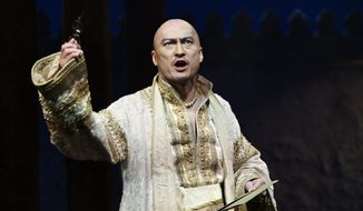 """In this image released by the Lincoln Center Theater, Ken Watanabe appears during a performance of """"The King and I,"""" in New York. (AP Photo/Lincoln Center Theater, Paul Kolnik)"""