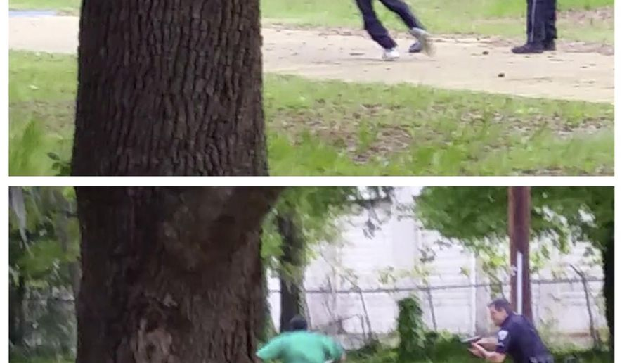 In this combination of still images taken from an April 4, 2015, video provided by attorney L. Chris Stewart, representing the family of Walter Lamer Scott, Scott appears to break away from a confrontation with city patrolman Michael Thomas Slager, right, in North Charleston, S.C. In the video, as Scott runs away, Slager pulls out his handgun and fires at Scott, who drops to the ground after the eighth shot. Slager has been fired and charged with murder following the release of the dramatic video. (AP Photo/Courtesy of L. Chris Stewart)