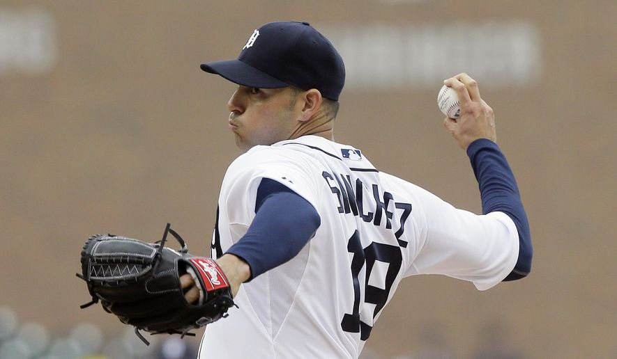 Detroit Tigers starting pitcher Anibal Sanchez throws during the first inning of a baseball game against the Minnesota Twins, Wednesday, April 8, 2015, in Detroit. (AP Photo/Carlos Osorio)