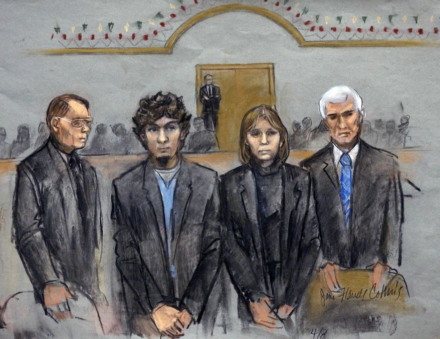 In this courtroom sketch, Dzhokhar Tsarnaev, second from left, is depicted standing with his defense attorneys William Fick, left, Judy Clarke, second from right, and David Bruck, right, as the jury presents its verdict in his federal death penalty trial Wednesday, April 8, 2015, in Boston. Tsarnaev was convicted on multiple charges in the 2013 Boston Marathon bombing. Three people were killed and more than 260 were injured when twin pressure-cooker bombs exploded near the finish line. (AP Photo/Jane Flavell Collins)