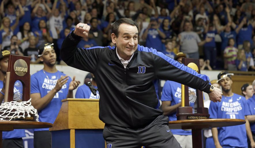 Duke coach Mike Krzyzewski reacts during a homecoming celebration for the national championship Duke basketball team at Cameron Indoor Stadium Tuesday, April 7, 2015 in Durham, N.C. Duke defeated Wisconsin Monday night in the NCAA Final Four tournament championship game. (AP Photo/Gerry Broome)