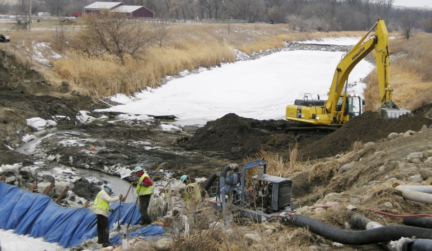 FILE - In this Jan. 15, 2008 file photo, workers finish placing pipeline for the Northwest Area Water Supply (NAWS) project through the Souris River near Minot, N .D. The U.S. Bureau of Reclamation is calling for more stringent water treatment in its final environmental study for the project. The report released Tuesday, April 7, 2015, is another step in the long-delayed project to bring Missouri River water to residents of northwestern North Dakota. (AP Photo/Minot Daily News, Jill Schramm, File)