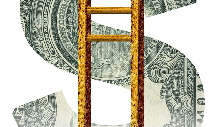 Illustration on the negative effects of raising the minimum wage by Alexander Hunter/The Washington Times