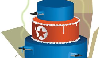 Illustration on North Korea's example of nuclear non-compliance as prologue for Iran's likely behavior by Linas Garsys/The Washington Times