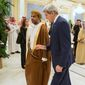 Secretary of State John F. Kerry talked with Yusuf bin Alawi bin Abdullah, Oman's minister of foreign affairs, during a meeting of Persian Gulf delegates in March. Oman helped kick-start secret nuclear talks between Tehran and Washington in 2013. (Associated Press)