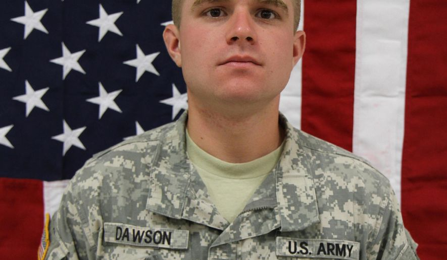 This undated photo provided by Department of Defense shows Spc. John M. Dawson. The 101st Airborne Division said Thursday, April 9, 2015, that Dawson of Whitinsville, Mass., died Wednesday in Jalalabad, Afghanistan, of wounds suffered when he was attacked by small arms fire while he was on an escort mission. (AP Photo/Department of Defense)