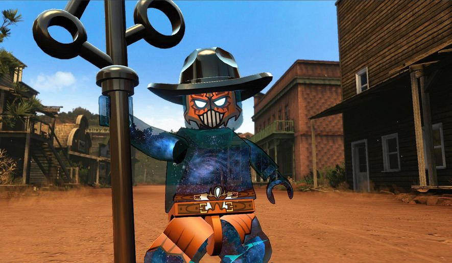 "This photo provided by Warner Bros. Interactive Entertainment shows a scene from the video game, ""LEGO Dimensions."" Warner Bros. Interactive Entertainment and TT Games unveiled plans Thursday, April 9, 2015, for ""Lego Dimensions,"" a game and toy line combining real-world Lego bricks and figures with virtual game worlds depicted on screen, similar to the popular ""Skylanders,"" ""Disney Infinity"" and ""ambiio"" franchises from Activision-Blizzard Inc., Walt Disney Co. and Nintendo Co. (AP Photo/Warner Bros. Interactive Entertainment)"