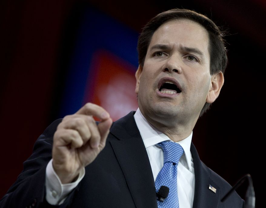 FILE - In this Feb. 27, 2015 file photo, Sen. Marco Rubio, R-Fla. speaks in National Harbor, Md. In a presidential campaign, you only get one Opening Day. For Ted Cruz, it was a simple speech on a college campus: no notes, no teleprompter _ and no choice for the students required to be there. Rand Paul packed a hotel ballroom with loyalists and dazzled them with videos and goofy campaign swag. Up next is Marco Rubio, who appears ready to enter the race Monday and will surely spend the weekend wondering if Hillary Rodham Clinton will ruin his moment with a Sunday night message that she's getting in, too.  (AP Photo/Carolyn Kaster, File)