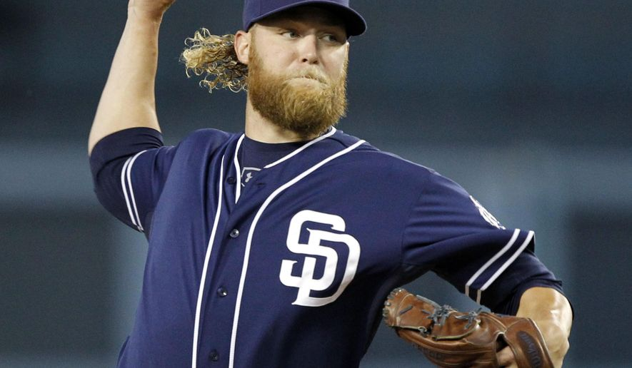 San Diego Padres starting pitcher Andrew Cashner during the first inning of a baseball game against the Los Angeles Dodgers in Los Angeles, Wednesday, April 8, 2015. (AP Photo/Alex Gallardo)