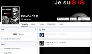 This screenshot provided by TV5 Monde on Thursday, April 9, 2015, shows its Facebook page hacked by people claiming allegiance to the Islamic State group, in Paris, France. Hackers claiming allegiance to the Islamic State group seized control of a global French television network, simultaneously blacking out 11 channels and taking over the network's website and social media accounts. (AP Photo/TV5 Monde) ** FILE **