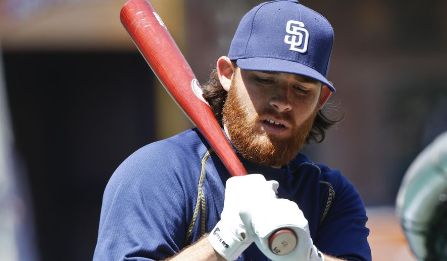 San Diego Padres pitcher Ian Kennedy, who starts in the Padres' home opener baseball game against the San Francisco Giants today, checks his batting grip during practice Thursday, April 9, 2015, in San Diego.   (AP Photo/Lenny Ignelzi)