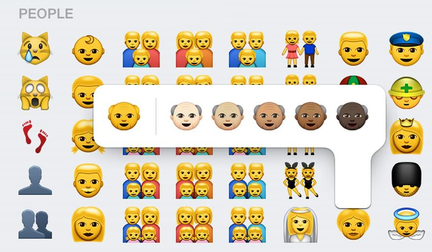 This screen shot made Thursday, April 9, 2015, on an iPhone 6 shows some of the new emojis available with the iOS 8.3 software update. The batch of more than 300 new emojis includes ones different skin tones and depictions of families with two moms or two dads. (AP Photo)